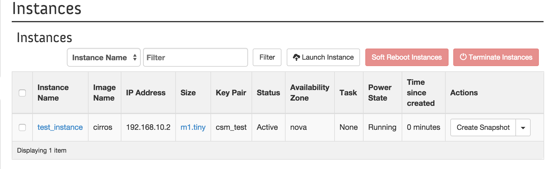 Launching an instance from the Horizon dashboard (OpenStack