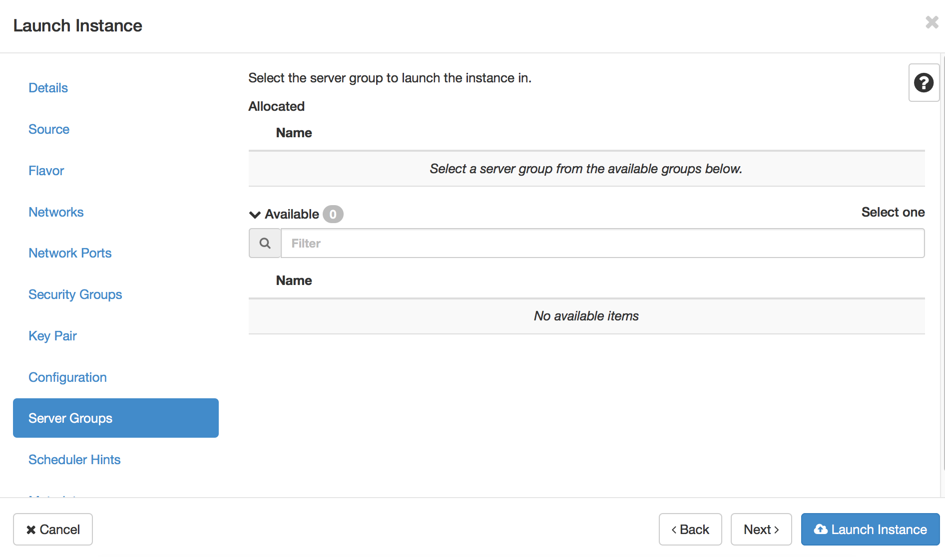 Launching an instance from the Horizon dashboard (OpenStack Newton